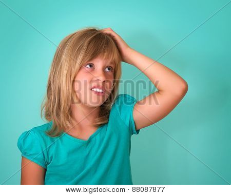 Closeup portrait of sad, depressed, stressed, thoughtful little girl, full of worries, looking to th