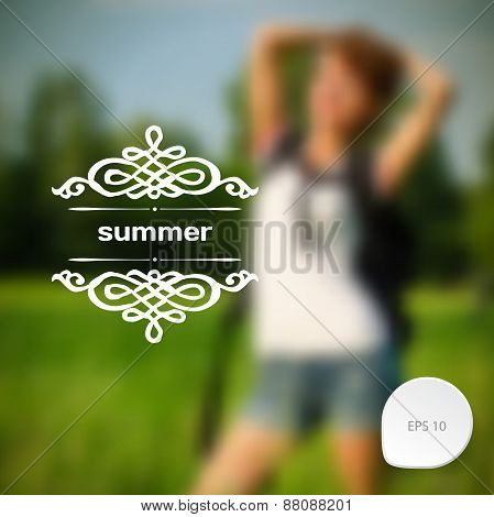 Blurred Photographic Vector Background With A Beautiful Girl On