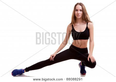 Girl In Sport Wear Isolated Over White Background