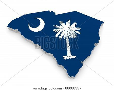 Geographic border map and flag of South Carolina, The Palmetto State