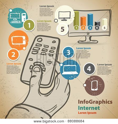 Template For Infographic With Hand With Remote Control And Smart