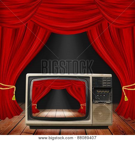Theater Stage With Red Curtains And Spotlights. Theatrical Scene In The Light Of Searchlights, The I