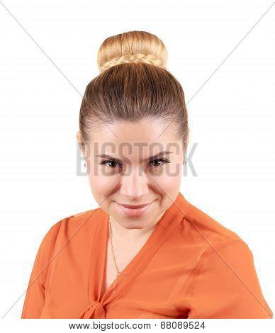 Beautiful woman with creative elegant hair bun.