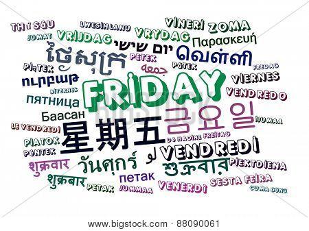 Background concept wordcloud multilanguage international many language illustration of Friday day