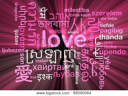 Background concept wordcloud multilanguage international many language illustration of love glowing light
