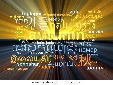 Background concept wordcloud multilanguage international many language illustration of autumn glowing light