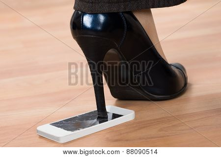 High Heel Step On Broken Smartphone