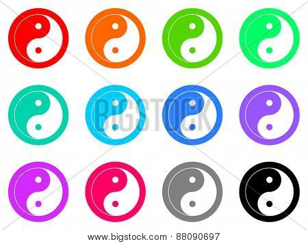 ying yang vector icon set