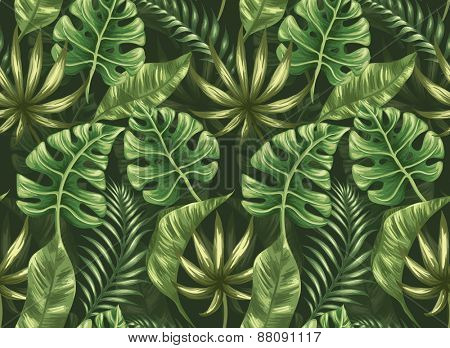 Seamless pattern with palm leaves stylized like watercolor