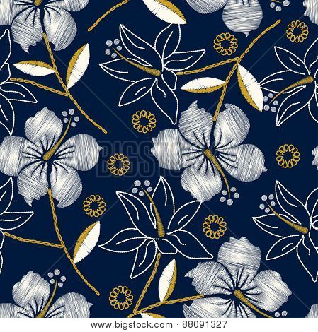 Hibiscus Tropical Embroidery Navy Seamless Pattern
