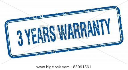 3 Years Warranty Blue Square Grungy Vintage Isolated Stamp