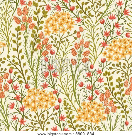 Seamless pattern with small flowers and leaves