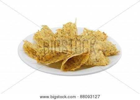 Large cheesy chips on the plate