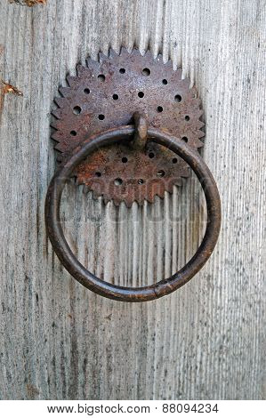 Closeup Image Of Old Door With Circle Iron Door-handle