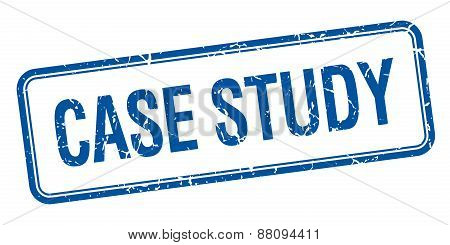 Case Study Blue Square Grungy Vintage Isolated Stamp