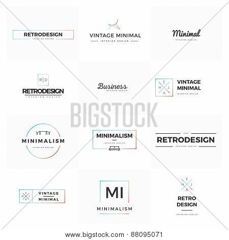 Collection of modern and minimal vintage logo vectors