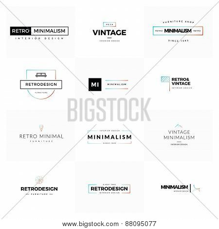 Logo set of modern and minimal vintage vectors