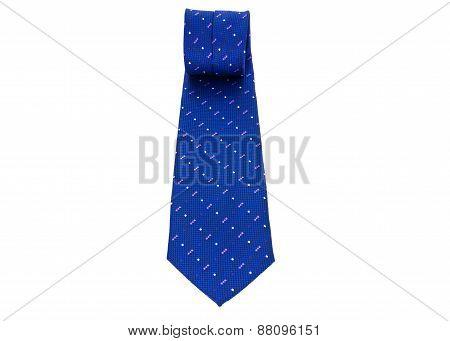 Blue Necktie On A White Background
