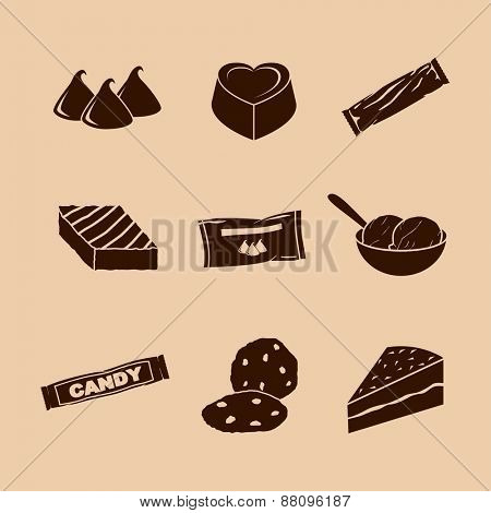 chocolate symbols set