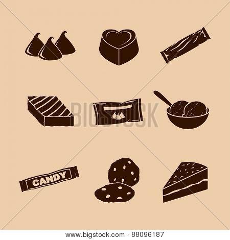 chocolate symbols set
