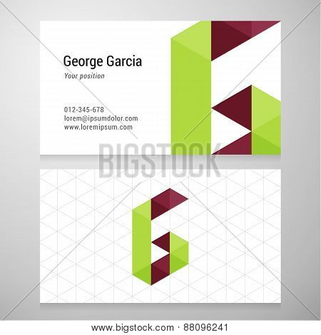 Modern Letter G Origami Business Card Template