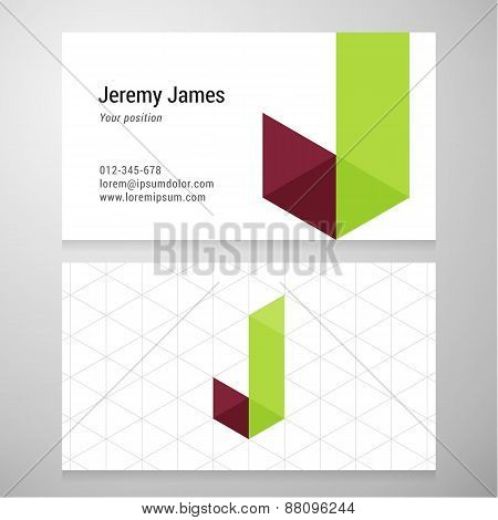 Modern Letter J Origami Business Card Template