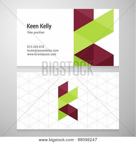 Modern Letter K Origami Business Card Template