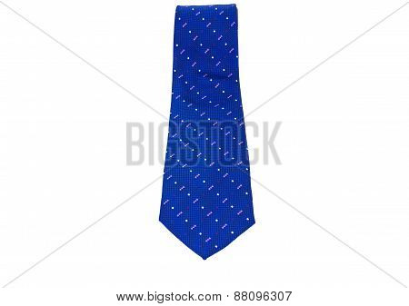 Blue Necktie On A White Background