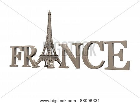 Eiffel Tower with France Text