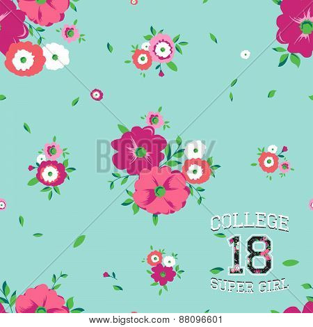 Vector seamless background with flowers and print college super girl for typography