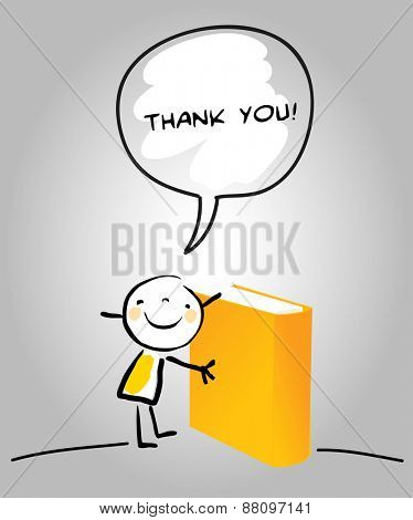 Thank you card with happy kid holding a book, saying thank you for education in a speech balloon. Cartoon sketch, doodle, vector concept illustration.