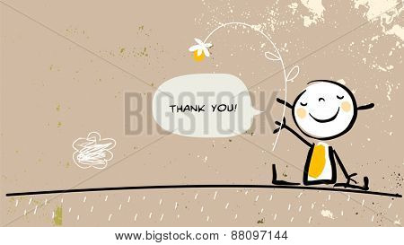 Thank you card with happy girl holding a flower, saying thank you in a speech balloon. Cartoon sketch, doodle, vector illustration.
