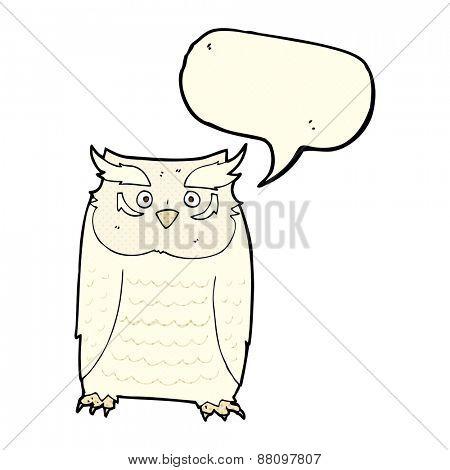 cartoon owl with speech bubble