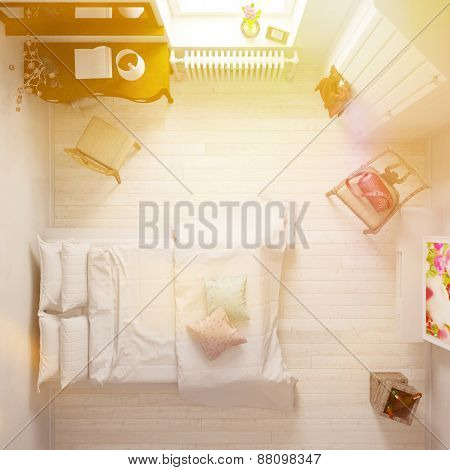 Elegant hotel room with double bed from above (3D Rendering)