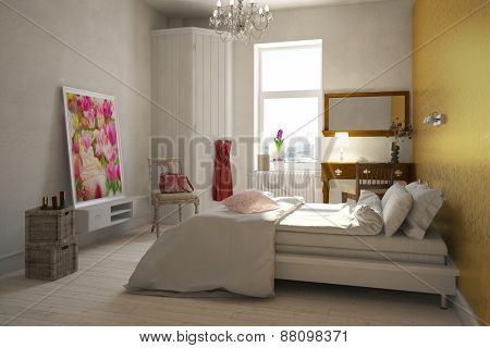 Elegant female bedroom of a woman with double bed and desk (3D Rendering)