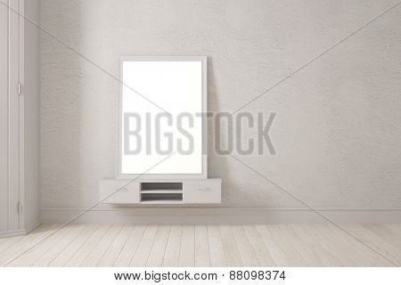 Mirror in picture frame leaning on wall in bedroom (3D Rendering)