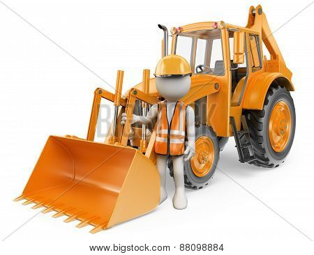 3D White People. Worker With A Backhoe Loader. Digger