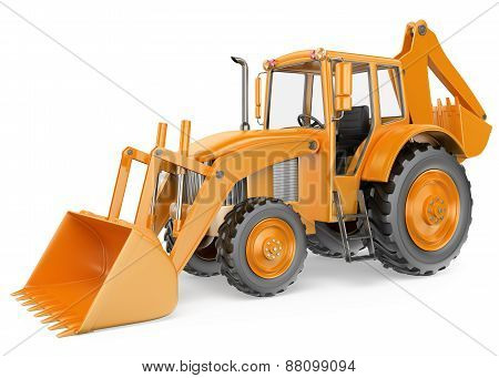 3D Backhoe Loader. Digger