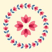 pic of scandinavian  - Scandinavian folk style flower in round floral ornamented frame - JPG