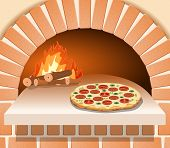 pic of oven  - Vector Italian pizza with tomato sausage and mushrooms in front of the oven - JPG
