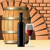 picture of wine cellar  - Vector wine cellar with wine bottle and glass - JPG