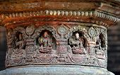 picture of pooja  - Carved stone figures on a public Hindu temple - JPG