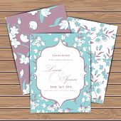 image of announcement  - Greeting cards with floral elements on wood plank background - JPG