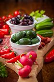 stock photo of dipping  - Raw vegetables - JPG