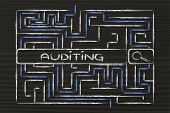 stock photo of maze  - search bar surrounded by a maze with tag about auditing - JPG
