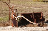 image of horse plowing  - farm plow horse drawn is dislayed on the way to the lake - JPG