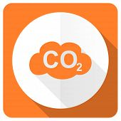stock photo of carbon-dioxide  - carbon dioxide orange flat icon co2 sign