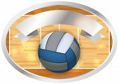 stock photo of court room  - An emblem and banner containing a volleyball and court illustration - JPG