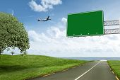 image of horizon  - Graphic airplane against road leading out to the horizon - JPG