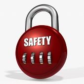 image of combinations  - Red security Combination Padlock on a white background - JPG
